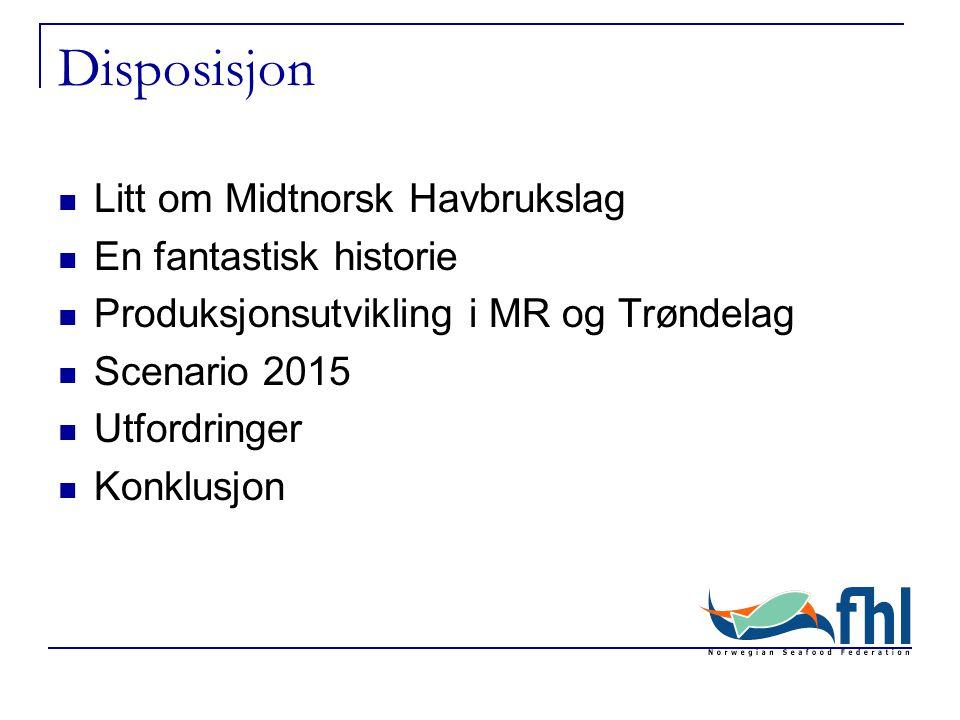 Disposisjon Litt om Midtnorsk Havbrukslag En fantastisk historie Produksjonsutvikling i MR og Trøndelag Scenario 2015 Utfordringer Konklusjon