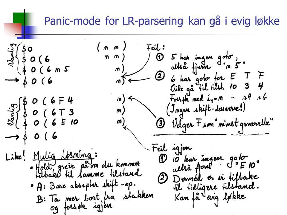 Panic-mode for LR-parsering kan gå i evig løkke