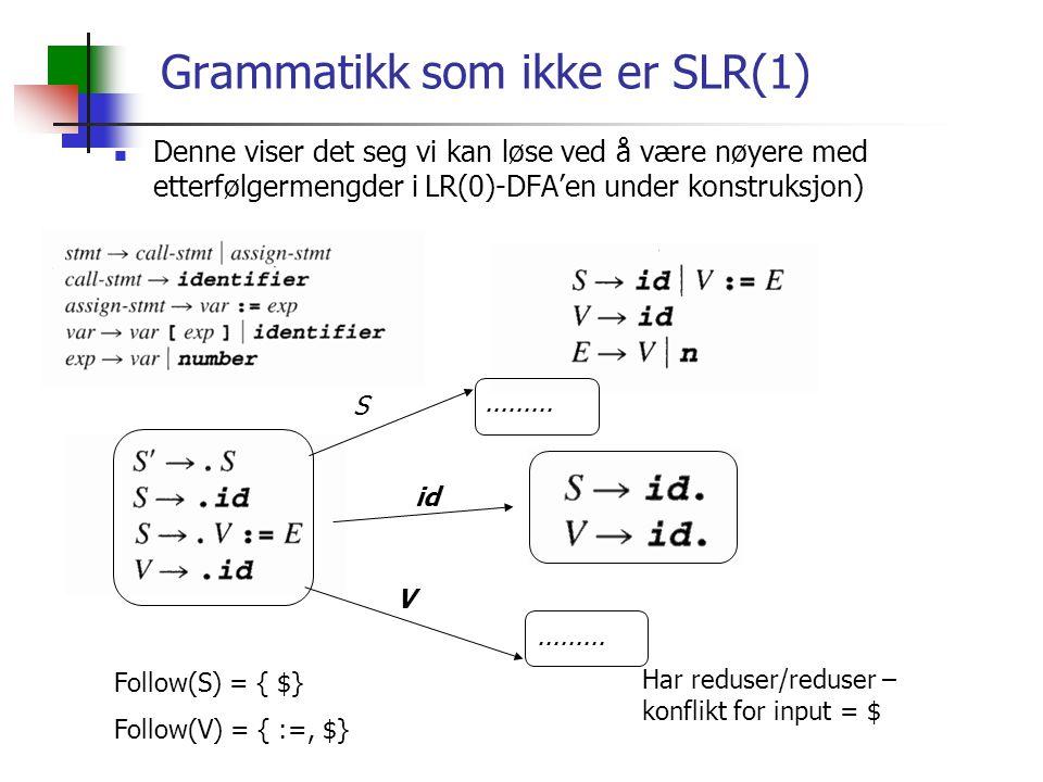 Grammatikk som ikke er SLR(1) Denne viser det seg vi kan løse ved å være nøyere med etterfølgermengder i LR(0)-DFA'en under konstruksjon) S id V Follow(S) = { $} Follow(V) = { :=, $} Har reduser/reduser – konflikt for input = $.........