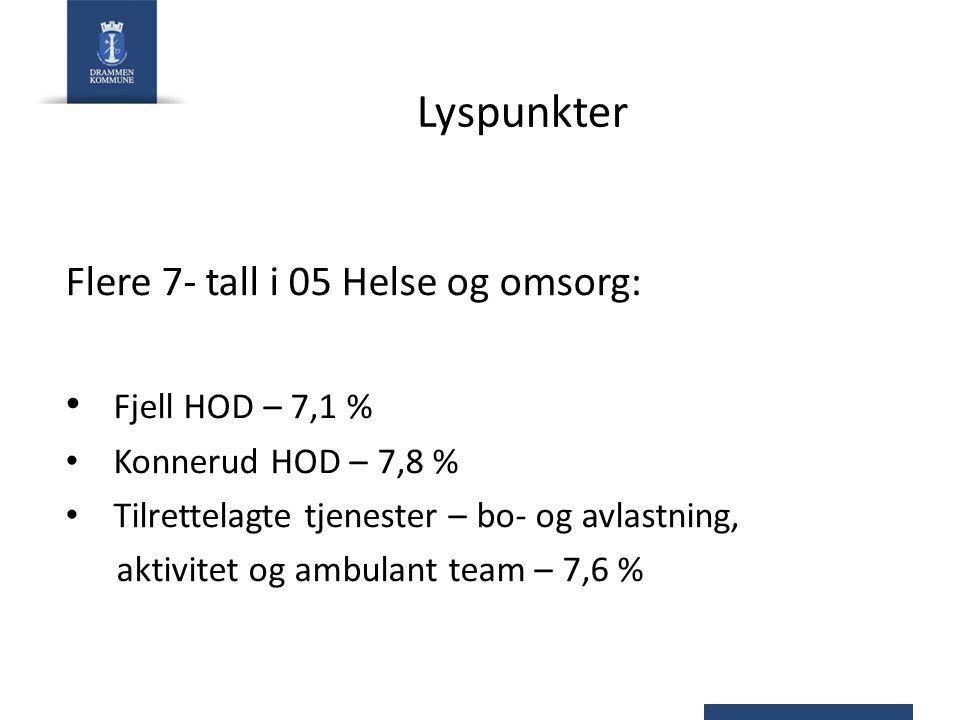 Lyspunkter Flere 7- tall i 05 Helse og omsorg: Fjell HOD – 7,1 % Konnerud HOD – 7,8 % Tilrettelagte tjenester – bo- og avlastning, aktivitet og ambula
