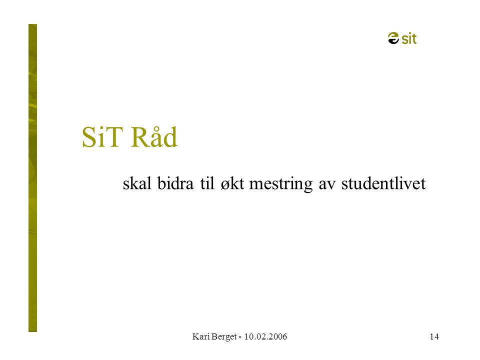 Kari Berget - 10.02.200614 SiT Råd skal bidra til økt mestring av studentlivet