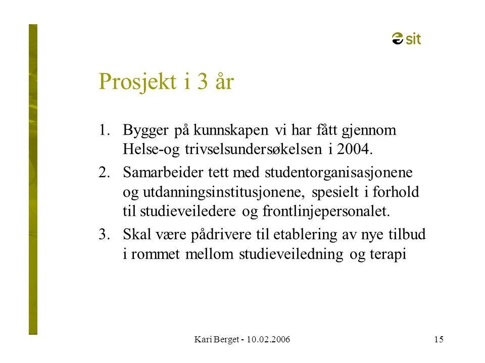 Kari Berget - 10.02.200615 Prosjekt i 3 år 1.Bygger på kunnskapen vi har fått gjennom Helse-og trivselsundersøkelsen i 2004.