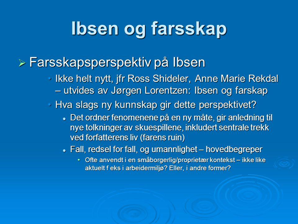 Ibsen og farsskap  Farsskapsperspektiv på Ibsen Ikke helt nytt, jfr Ross Shideler, Anne Marie Rekdal – utvides av Jørgen Lorentzen: Ibsen og farskapI