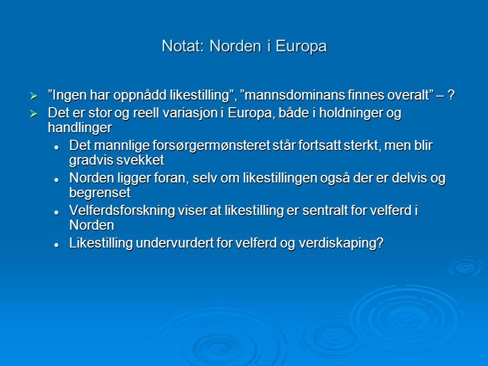 """Notat: Norden i Europa  """"Ingen har oppnådd likestilling"""", """"mannsdominans finnes overalt"""" – ?  Det er stor og reell variasjon i Europa, både i holdni"""