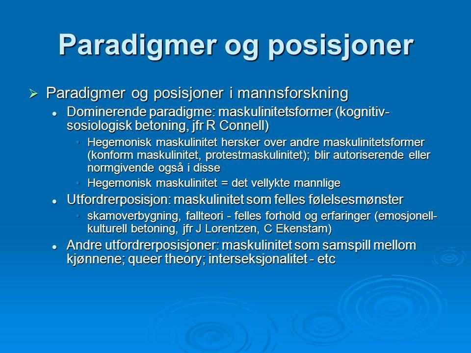 Paradigmer og posisjoner  Paradigmer og posisjoner i mannsforskning Dominerende paradigme: maskulinitetsformer (kognitiv- sosiologisk betoning, jfr R