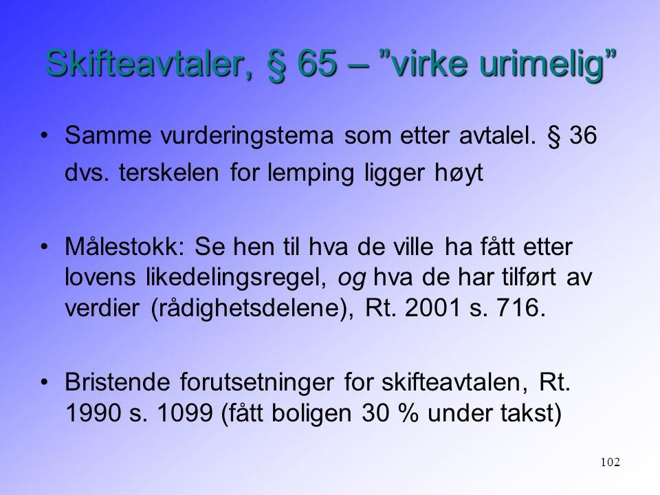 """102 Skifteavtaler, § 65 – """"virke urimelig"""" Samme vurderingstema som etter avtalel. § 36 dvs. terskelen for lemping ligger høyt Målestokk: Se hen til h"""