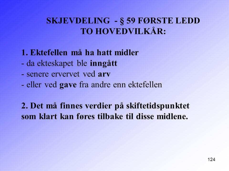 124 SKJEVDELING - § 59 FØRSTE LEDD TO HOVEDVILKÅR: 1. Ektefellen må ha hatt midler - da ekteskapet ble inngått - senere ervervet ved arv - eller ved g