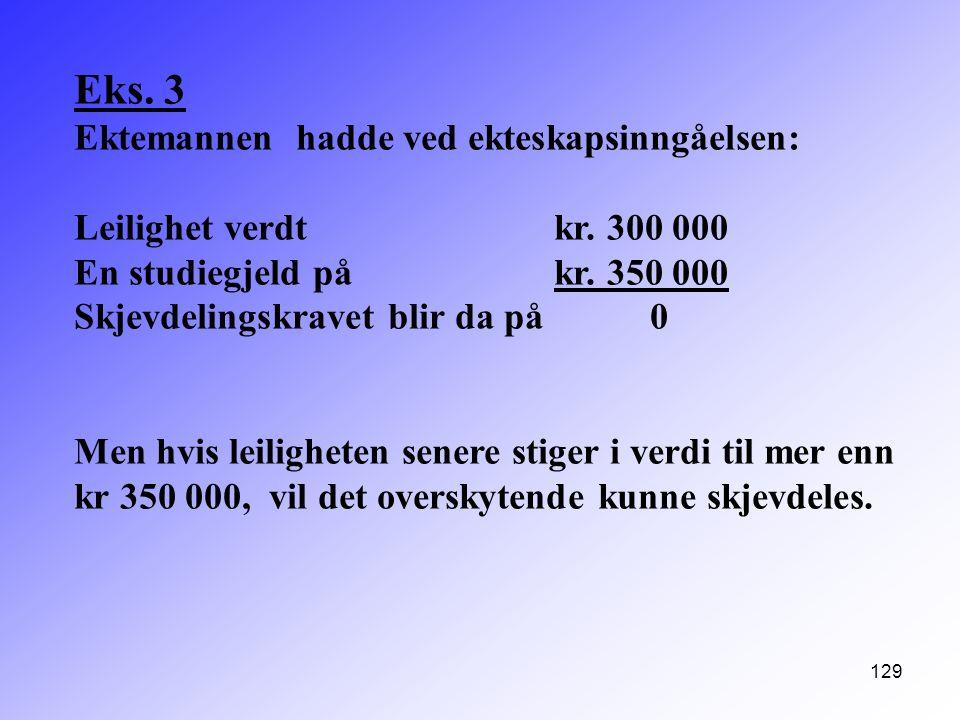 129 Eks. 3 Ektemannen hadde ved ekteskapsinngåelsen: Leilighet verdt kr. 300 000 En studiegjeld på kr. 350 000 Skjevdelingskravet blir da på 0 Men hvi