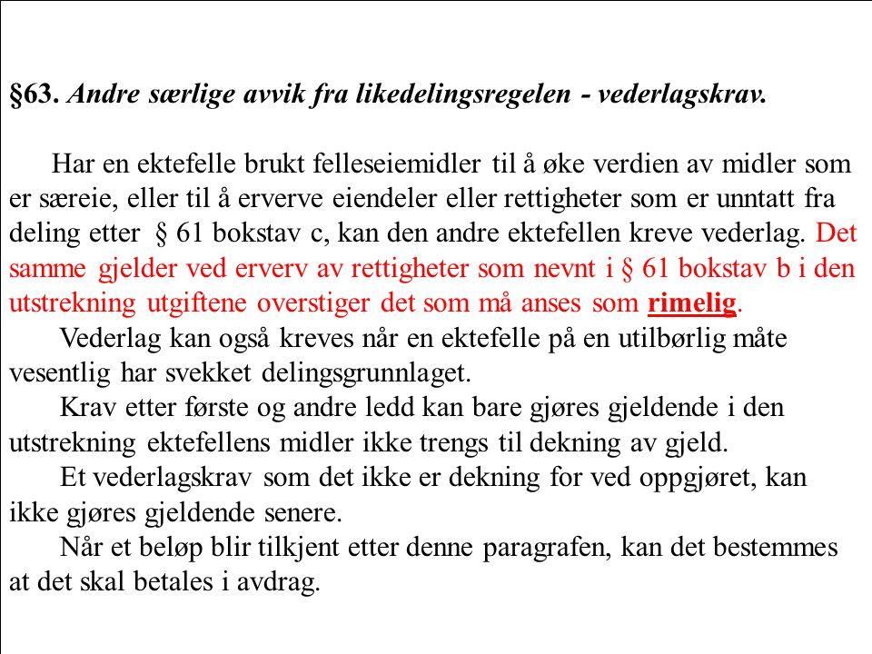 §63. Andre særlige avvik fra likedelingsregelen - vederlagskrav. Har en ektefelle brukt felleseiemidler til å øke verdien av midler som er særeie, ell