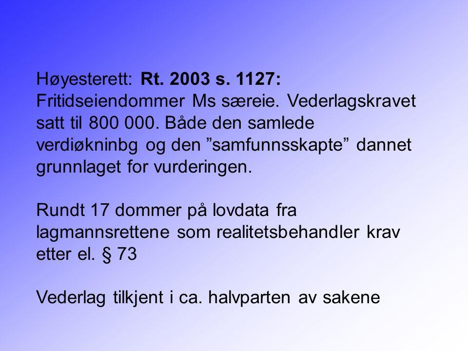 """Høyesterett: Rt. 2003 s. 1127: Fritidseiendommer Ms særeie. Vederlagskravet satt til 800 000. Både den samlede verdiøkninbg og den """"samfunnsskapte"""" da"""