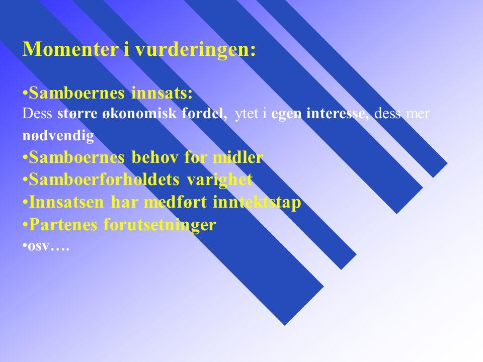 Momenter i vurderingen: Samboernes innsats: Dess større økonomisk fordel, ytet i egen interesse, dess mer nødvendig Samboernes behov for midler Samboe