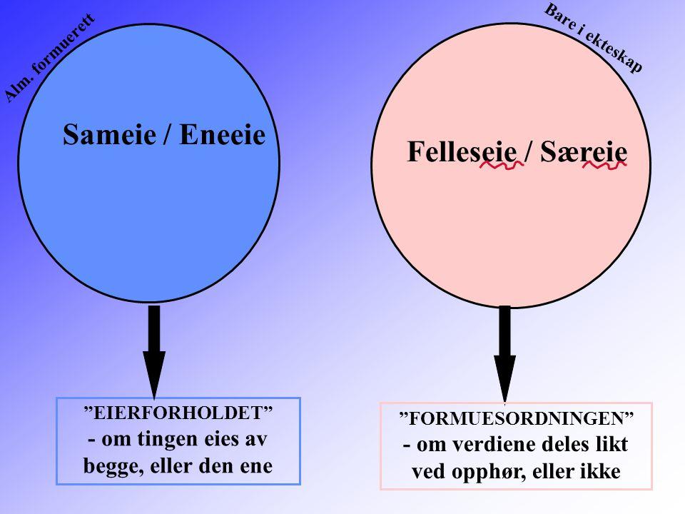 """Sameie / Eneeie Felleseie / Særeie """"EIERFORHOLDET"""" - om tingen eies av begge, eller den ene """"FORMUESORDNINGEN"""" - om verdiene deles likt ved opphør, el"""