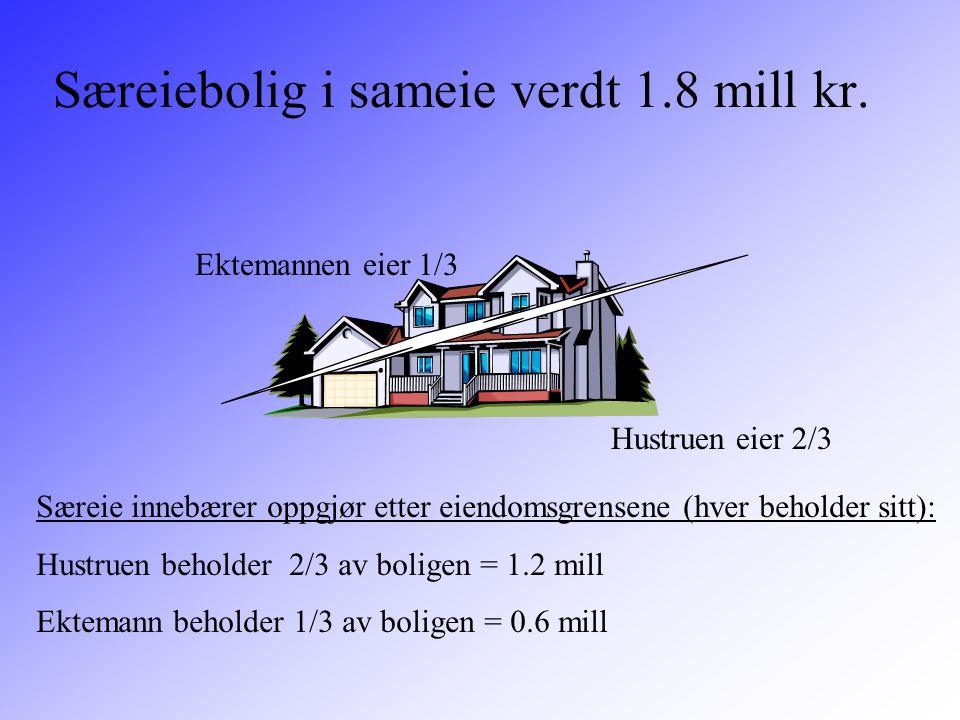 Særeiebolig i sameie verdt 1.8 mill kr. Hustruen eier 2/3 Ektemannen eier 1/3 Særeie innebærer oppgjør etter eiendomsgrensene (hver beholder sitt): Hu