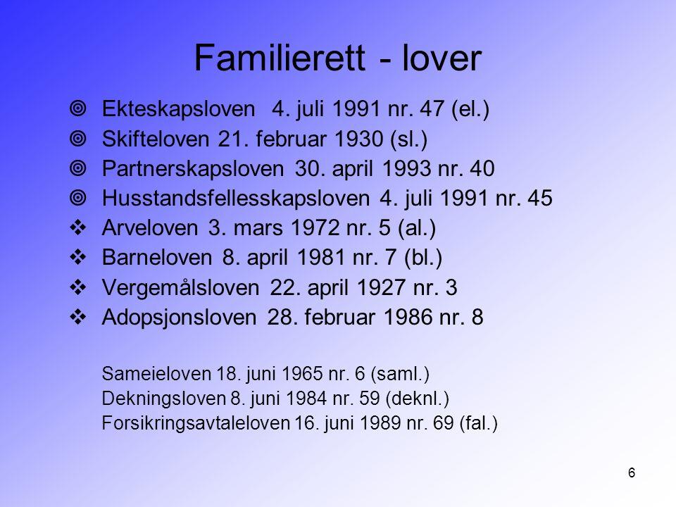 6 Familierett - lover ¥Ekteskapsloven 4. juli 1991 nr. 47 (el.) ¥Skifteloven 21. februar 1930 (sl.) ¥Partnerskapsloven 30. april 1993 nr. 40 ¥Husstand