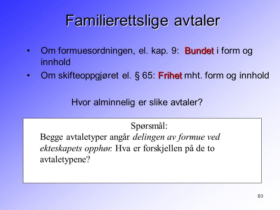 80 Familierettslige avtaler BundetOm formuesordningen, el. kap. 9: Bundet i form og innhold FrihetOm skifteoppgjøret el. § 65: Frihet mht. form og inn