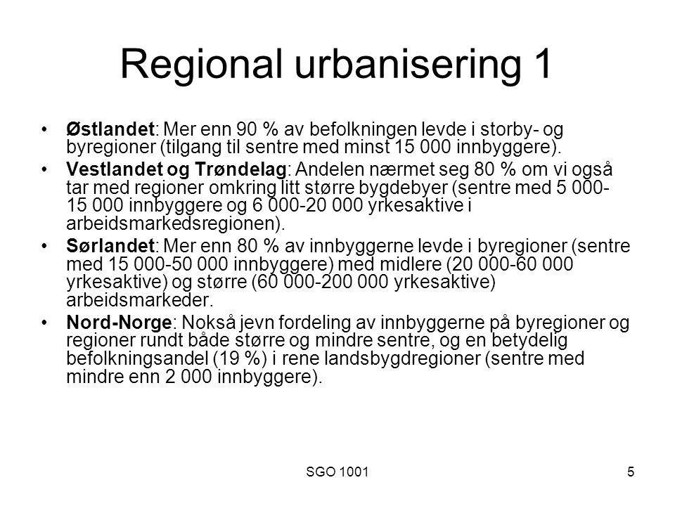 SGO 10015 Regional urbanisering 1 Østlandet: Mer enn 90 % av befolkningen levde i storby- og byregioner (tilgang til sentre med minst 15 000 innbyggere).