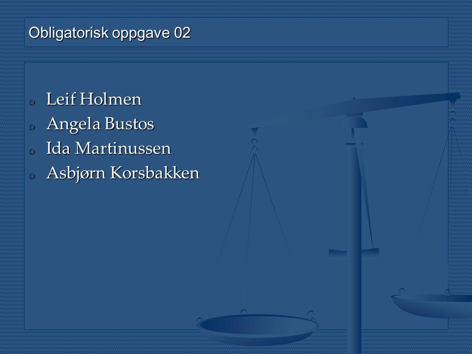 o Leif Holmen o Angela Bustos o Ida Martinussen o Asbjørn Korsbakken Obligatorisk oppgave 02