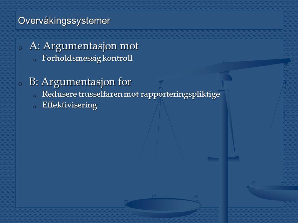 Overvåkingssystemer o A: Argumentasjon mot o Forholdsmessig kontroll o B: Argumentasjon for o Redusere trusselfaren mot rapporteringspliktige o Effekt