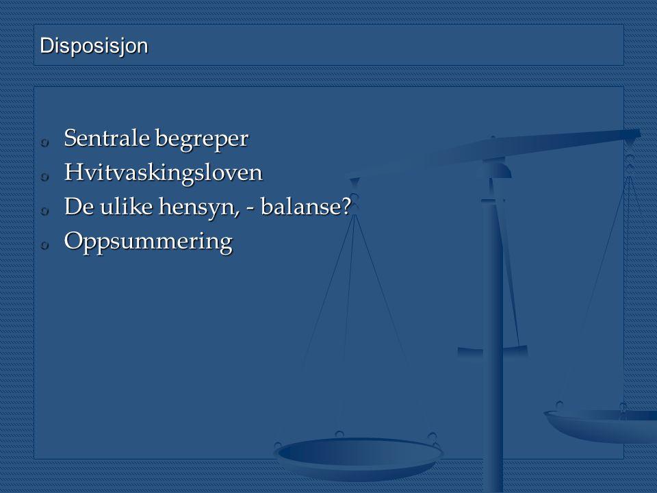 Disposisjon o Sentrale begreper o Hvitvaskingsloven o De ulike hensyn, - balanse? o Oppsummering