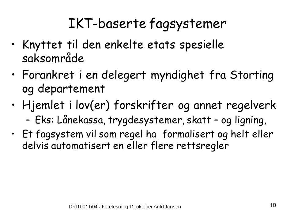 DRI1001 h04 - Forelesning 11. oktober Arild Jansen 10 IKT-baserte fagsystemer Knyttet til den enkelte etats spesielle saksområde Forankret i en delege