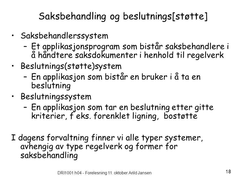 DRI1001 h04 - Forelesning 11. oktober Arild Jansen 18 Saksbehandling og beslutnings[støtte] Saksbehandlerssystem –Et applikasjonsprogram som bistår sa