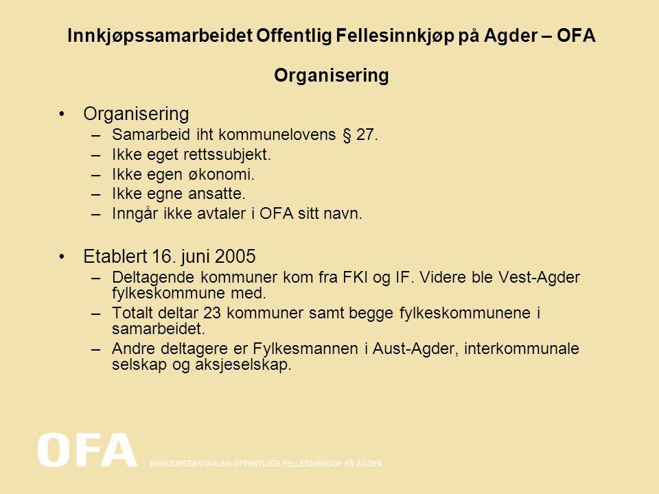 Innkjøpssamarbeidet Offentlig Fellesinnkjøp på Agder – OFA Organisering Organisering –Samarbeid iht kommunelovens § 27. –Ikke eget rettssubjekt. –Ikke