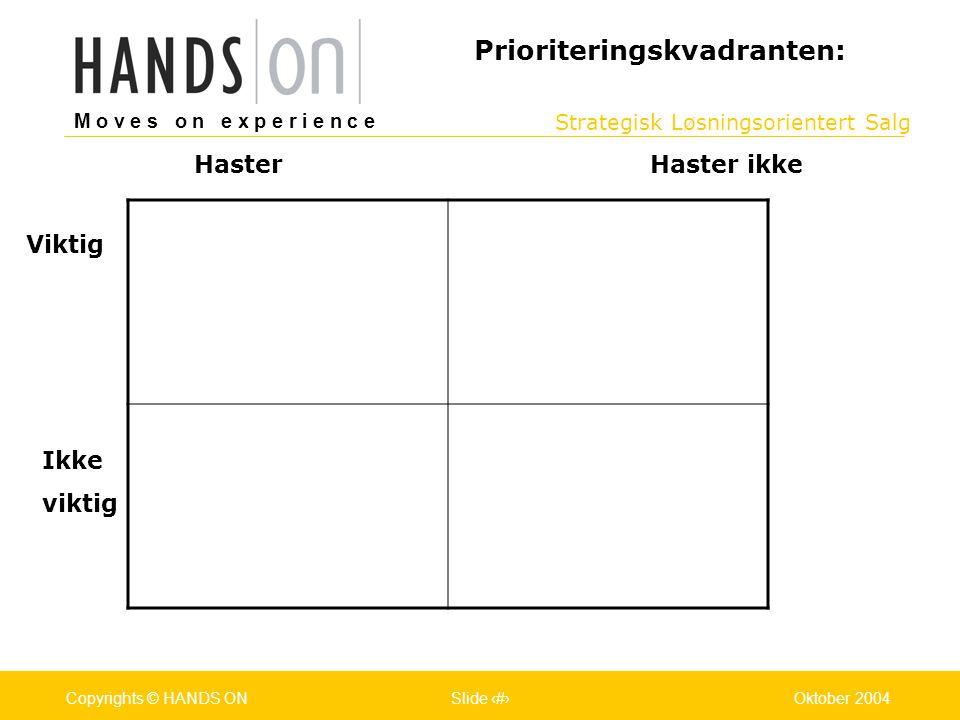 Strategisk Løsningsorientert Salg M o v e s o n e x p e r i e n c e Oslo 25.07.2001Copyrights © HANDS ONPage / Pages 11Oktober 2004Copyrights © HANDS