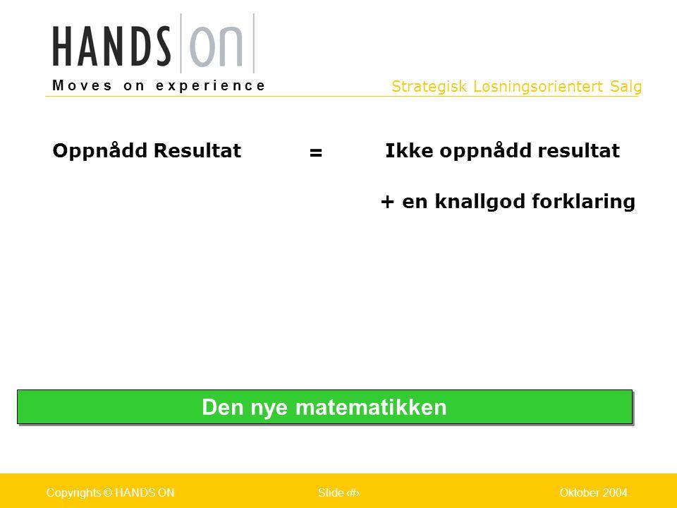 Strategisk Løsningsorientert Salg M o v e s o n e x p e r i e n c e Oslo 25.07.2001Copyrights © HANDS ONPage / Pages 12Oktober 2004Copyrights © HANDS