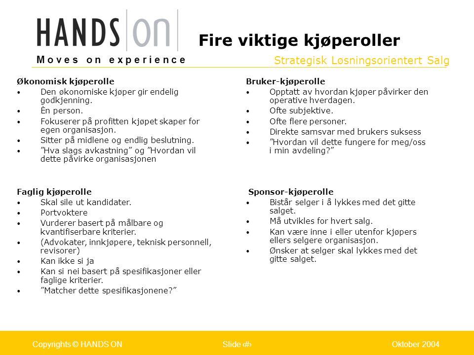 Strategisk Løsningsorientert Salg M o v e s o n e x p e r i e n c e Oslo 25.07.2001Copyrights © HANDS ONPage / Pages 13Oktober 2004Copyrights © HANDS