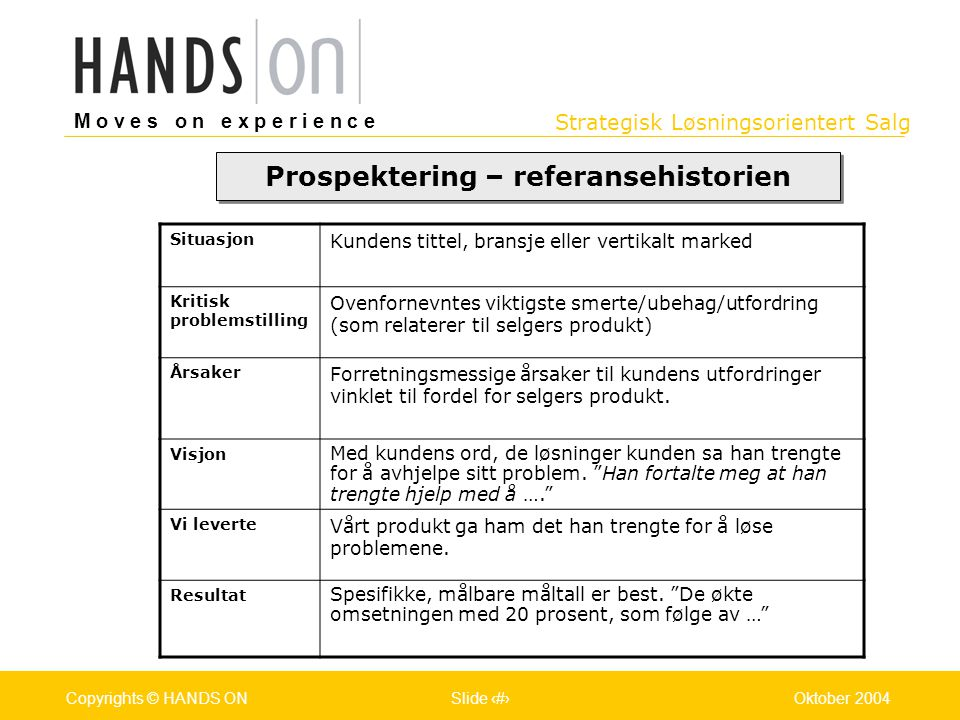 Strategisk Løsningsorientert Salg M o v e s o n e x p e r i e n c e Oslo 25.07.2001Copyrights © HANDS ONPage / Pages 20Oktober 2004Copyrights © HANDS
