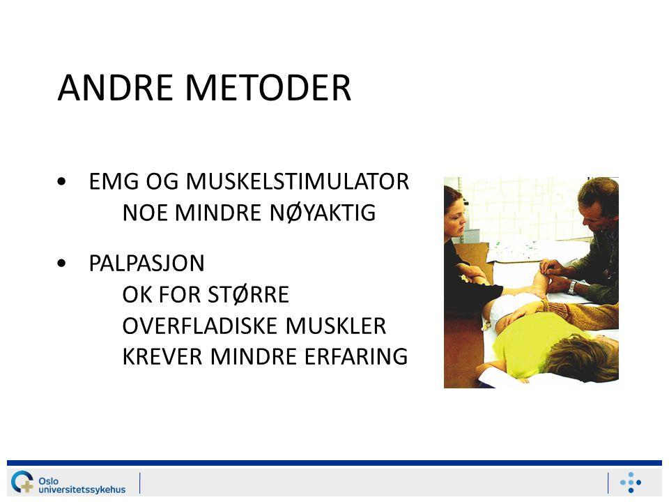 ANDRE METODER EMG OG MUSKELSTIMULATOR NOE MINDRE NØYAKTIG PALPASJON OK FOR STØRRE OVERFLADISKE MUSKLER KREVER MINDRE ERFARING