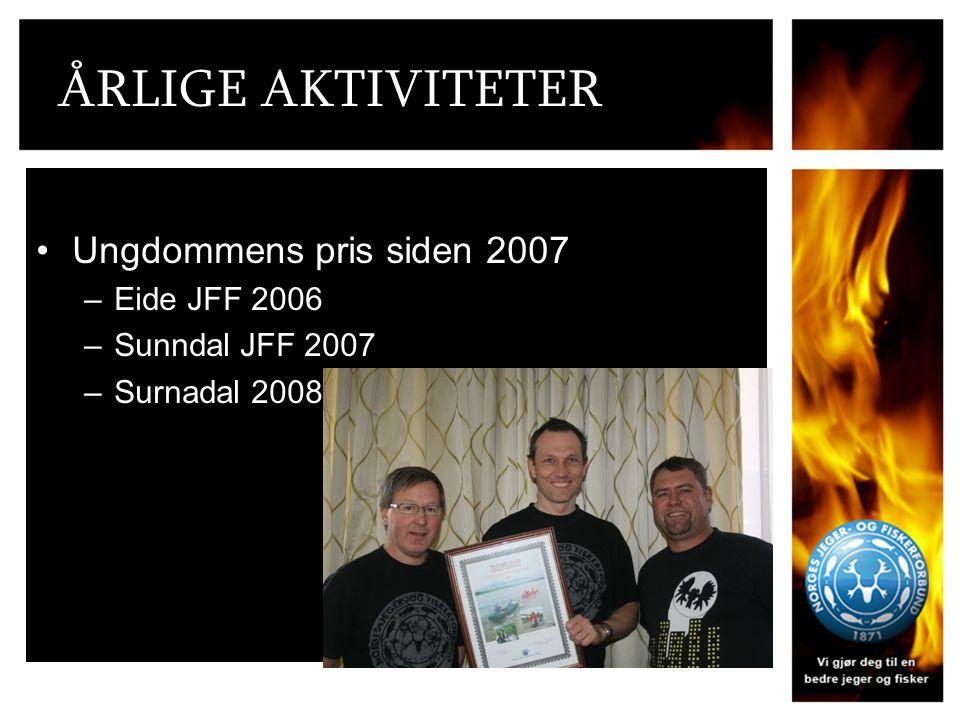 ÅRLIGE AKTIVITETER Ungdommens pris siden 2007 –Eide JFF 2006 –Sunndal JFF 2007 –Surnadal 2008