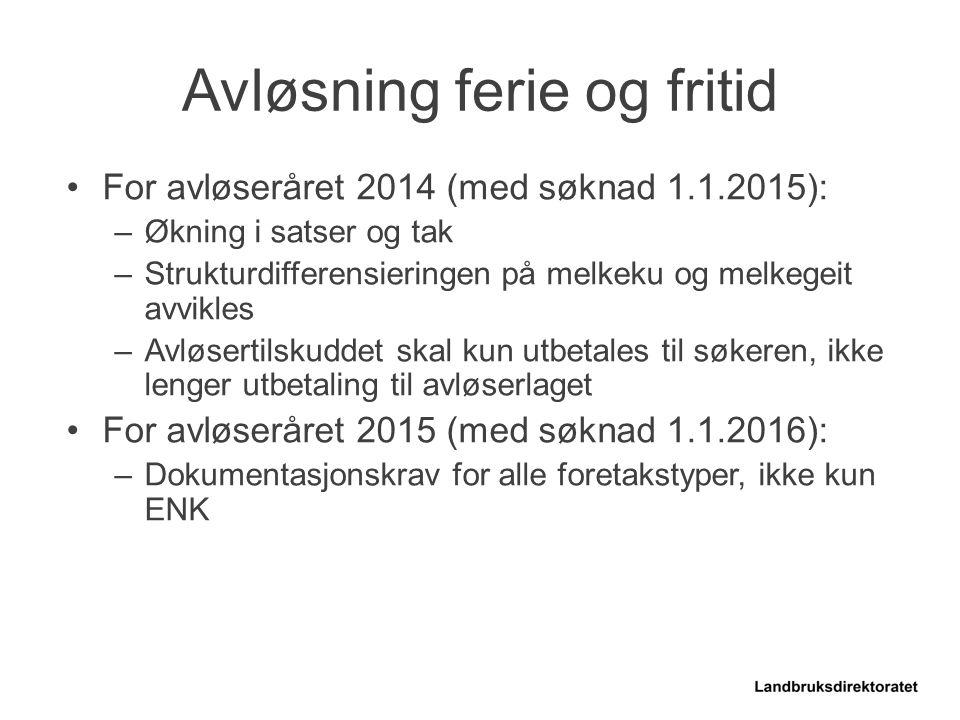 For avløseråret 2014 (med søknad 1.1.2015): –Økning i satser og tak –Strukturdifferensieringen på melkeku og melkegeit avvikles –Avløsertilskuddet ska