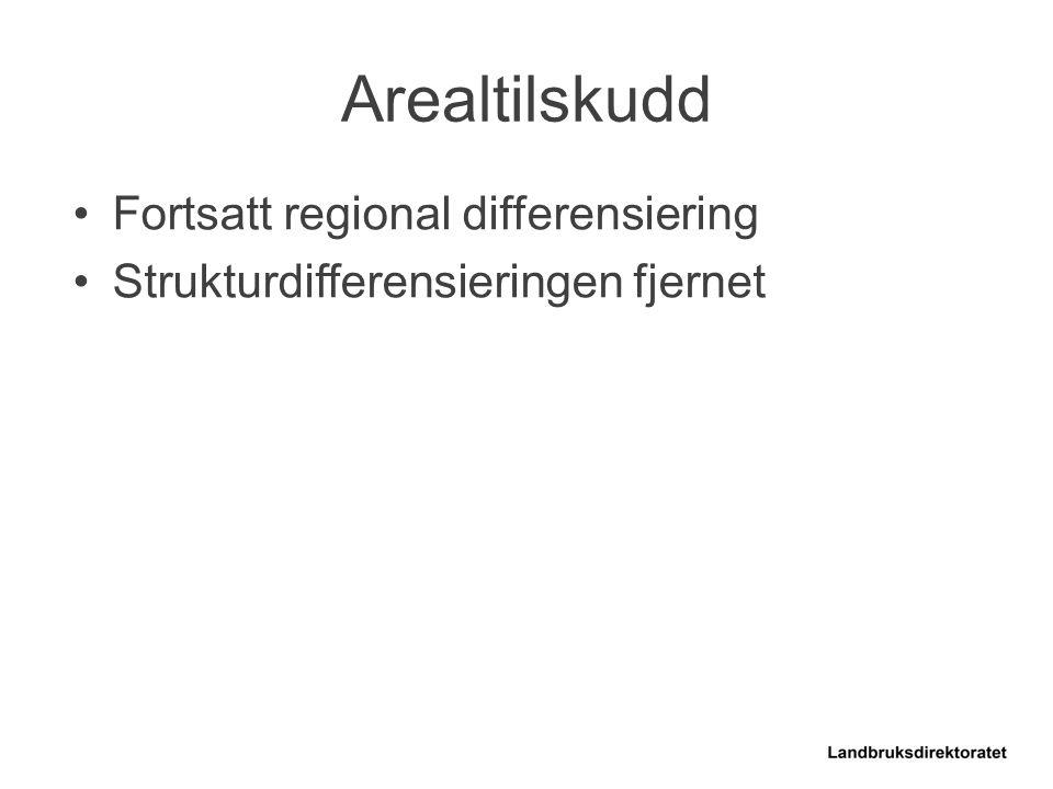 Fortsatt regional differensiering Strukturdifferensieringen fjernet Arealtilskudd