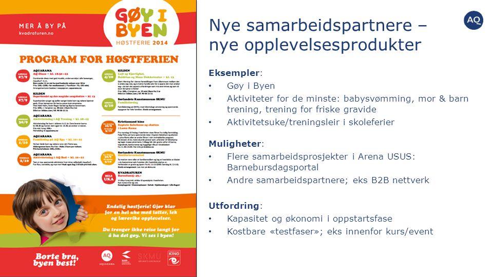 Nye samarbeidspartnere – nye opplevelsesprodukter Eksempler: Gøy i Byen Aktiviteter for de minste: babysvømming, mor & barn trening, trening for frisk