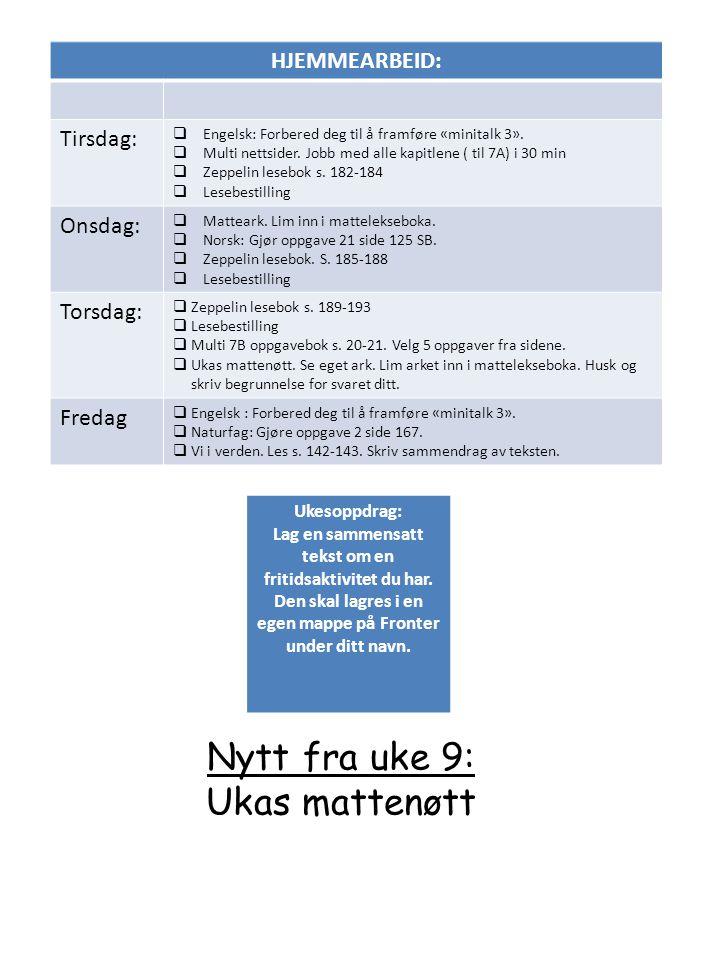 HJEMMEARBEID: Tirsdag:  Engelsk: Forbered deg til å framføre «minitalk 3».  Multi nettsider. Jobb med alle kapitlene ( til 7A) i 30 min  Zeppelin l