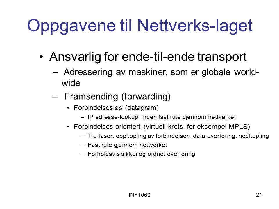 INF106021 Oppgavene til Nettverks-laget Ansvarlig for ende-til-ende transport – Adressering av maskiner, som er globale world- wide – Framsending (forwarding) Forbindelsesløs (datagram) –IP adresse-lookup; Ingen fast rute gjennom nettverket Forbindelses-orientert (virtuell krets, for eksempel MPLS) –Tre faser: oppkopling av forbindelsen, data-overføring, nedkopling –Fast rute gjennom nettverket –Forholdsvis sikker og ordnet overføring