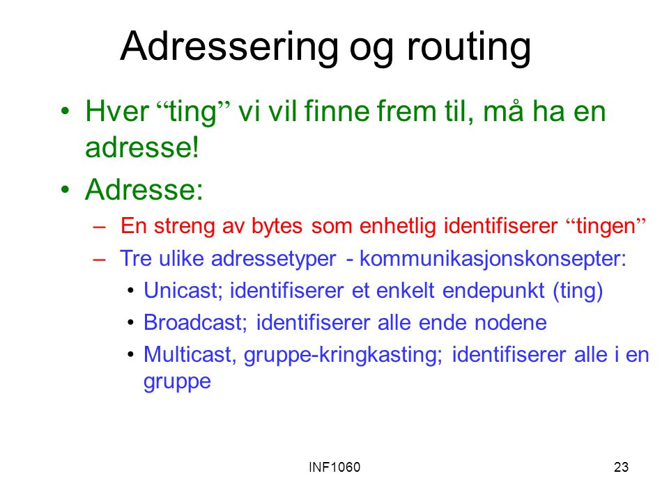 INF106023 Adressering og routing Hver ting vi vil finne frem til, må ha en adresse.