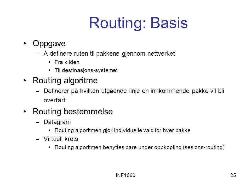 INF106025 Routing: Basis Oppgave –Å definere ruten til pakkene gjennom nettverket Fra kilden Til destinasjons-systemet Routing algoritme –Definerer på hvilken utgående linje en innkommende pakke vil bli overført Routing bestemmelse –Datagram Routing algoritmen gjør individuelle valg for hver pakke –Virtuell krets Routing algoritmen benyttes bare under oppkopling (sesjons-routing)