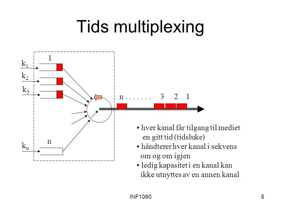 INF106026 Routing Routingtabellene beregnes ved hjelp av tilstand-/avtandsinformasjon om nettverket Data-utveksling mellom noder: –Distansevektor routing (RIP: Routing Information Protocol) –Link state routing (OSPF: Open Shortest Path First, IS-IS: Intermediate System to Intermediate System)