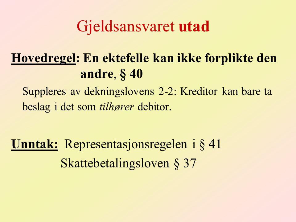 Gjeldsansvaret utad Hovedregel: En ektefelle kan ikke forplikte den andre, § 40 Suppleres av dekningslovens 2-2: Kreditor kan bare ta beslag i det som tilhører debitor.