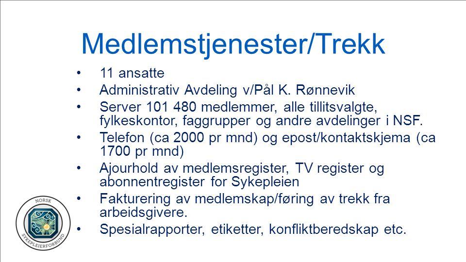 Medlemstjenester/Trekk 11 ansatte Administrativ Avdeling v/Pål K. Rønnevik Server 101 480 medlemmer, alle tillitsvalgte, fylkeskontor, faggrupper og a