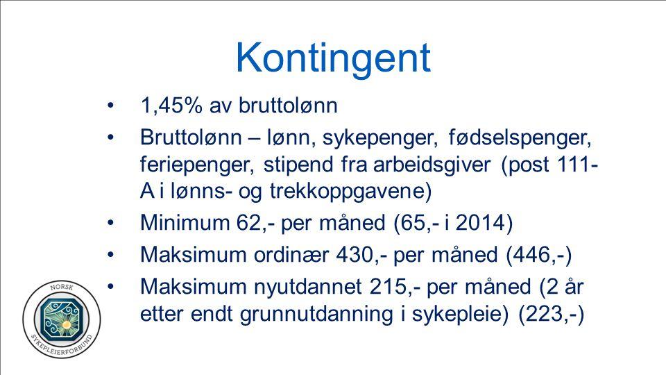 Kontingent 1,45% av bruttolønn Bruttolønn – lønn, sykepenger, fødselspenger, feriepenger, stipend fra arbeidsgiver (post 111- A i lønns- og trekkoppga