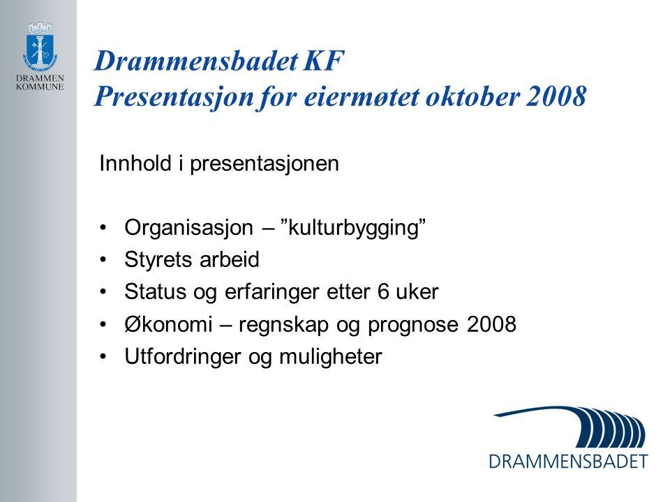 """Drammensbadet KF Presentasjon for eiermøtet oktober 2008 Innhold i presentasjonen Organisasjon – """"kulturbygging"""" Styrets arbeid Status og erfaringer e"""