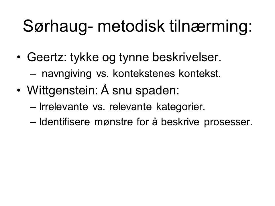 Sørhaug- metodisk tilnærming: Geertz: tykke og tynne beskrivelser.