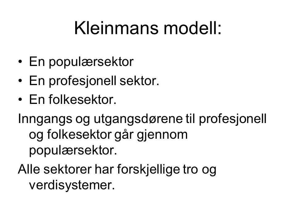 Kleinmans modell: En populærsektor En profesjonell sektor.