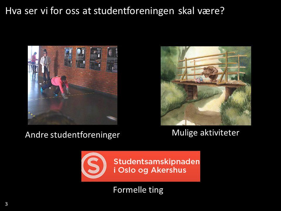 3 Mulige aktiviteter Formelle ting Andre studentforeninger Hva ser vi for oss at studentforeningen skal være