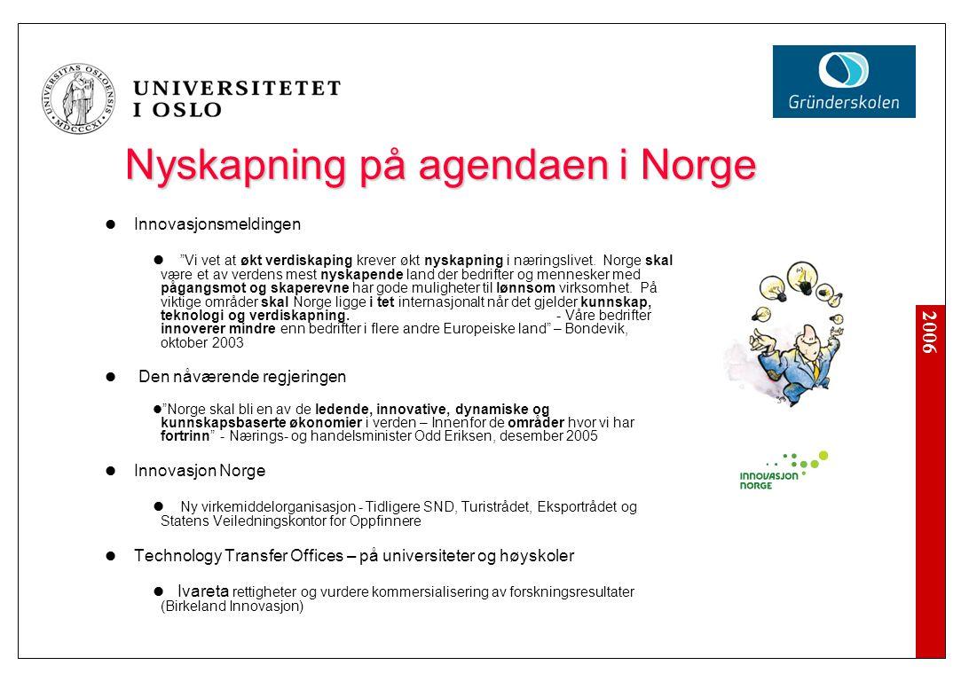2006 Nyskapning på agendaen i Norge Innovasjonsmeldingen Vi vet at økt verdiskaping krever økt nyskapning i næringslivet.