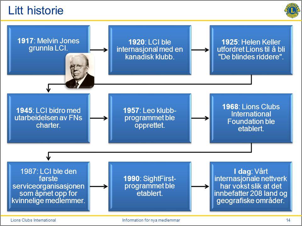 14Lions Clubs InternationalInformation för nya medlemmar Litt historie 1917: Melvin Jones grunnla LCI.
