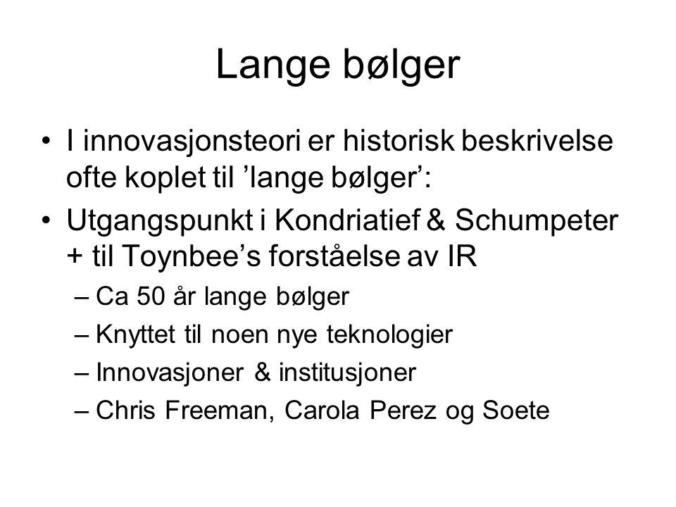 Lange bølger I innovasjonsteori er historisk beskrivelse ofte koplet til 'lange bølger': Utgangspunkt i Kondriatief & Schumpeter + til Toynbee's forst